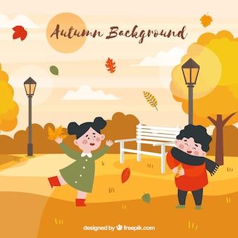 Fundo de outono com crianças no parque