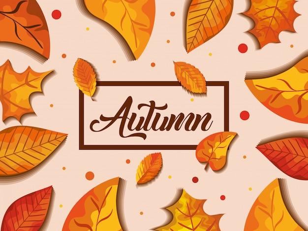 Fundo de outono com decoração de folhas