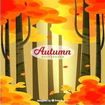 Fundo de outono com design florestal