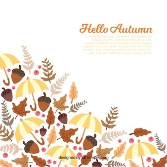 Fundo de outono com diferentes elementos