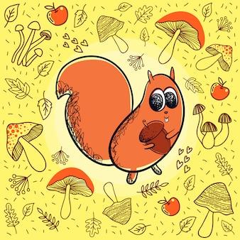 Fundo de outono com doodle esquilo e cogumelos