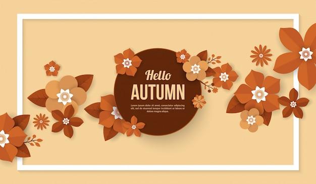 Fundo de outono com elementos de flor no estilo de corte de papel