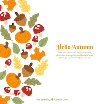 Fundo de outono com elementos