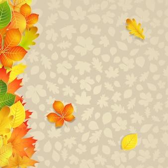 Fundo de outono com folhas amarelas, verdes e laranja