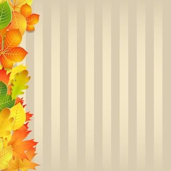 Fundo de outono com folhas amarelas, verdes, laranja e faixas verticais