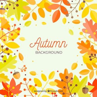Fundo de outono com folhas coloridas e bolotas