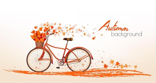 Fundo de outono com folhas coloridas e uma bicicleta. vetor