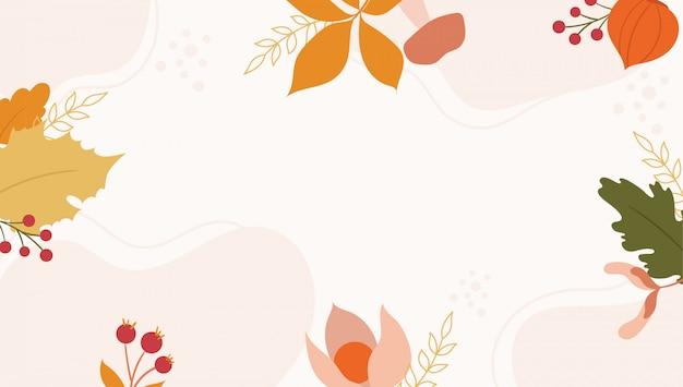 Fundo de outono com folhas de laranja e verdes.