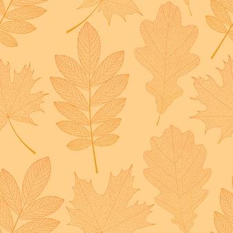 Fundo de outono com folhas de laranja