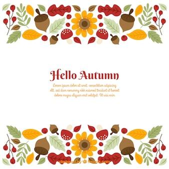 Fundo de outono com folhas e bolotas