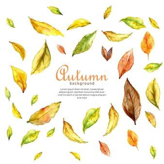 Fundo de outono com folhas em aquarela marrom-amarelas caindo