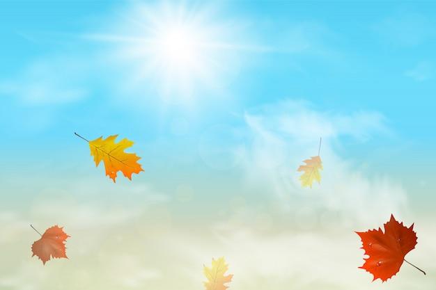 Fundo de outono com folhas multicoloridas voando no céu