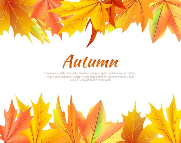Fundo de outono com folhas na parte superior e inferior