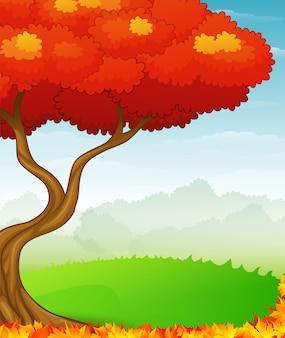 Fundo de outono com folhas vermelhas