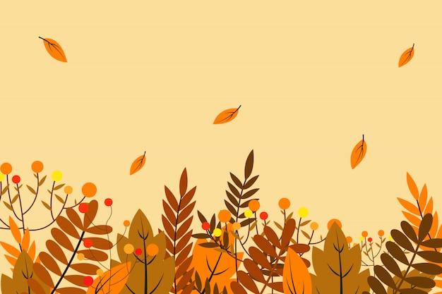 Fundo de outono com folhas