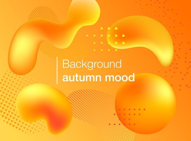 Fundo de outono com formas gradientes coloridas. ilustração vetorial moderna para a temporada outonal. cartaz de design futurista