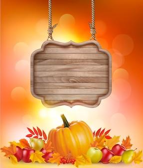 Fundo de outono com frutas, folhas e placa de madeira. vetor.
