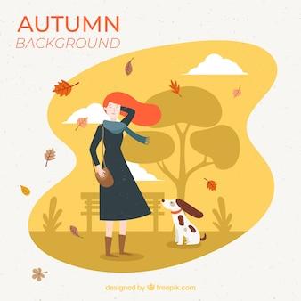 Fundo de outono com menina e cachorro