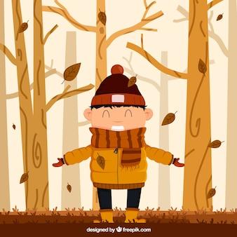 Fundo de outono com menino feliz