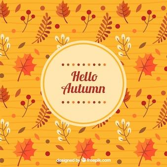 Fundo de outono com padrão de folhas