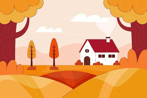 Fundo de outono com paisagem fofa