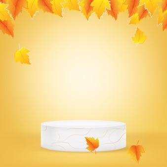 Fundo de outono com pódio e deixa um fundo 3d mínimo para promoção