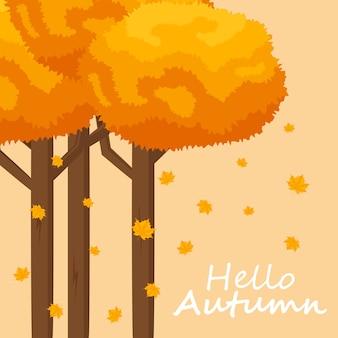 Fundo de outono com texto de outono desenhado à mão e folhas em torno dele. ilustração vetorial