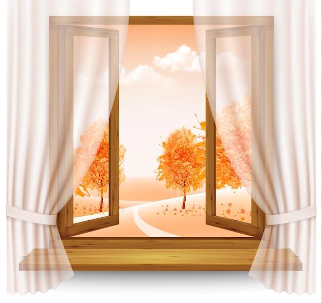 Fundo de outono com uma janela aberta e árvores coloridas