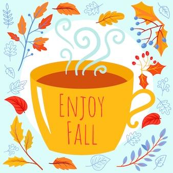 Fundo de outono com xícara de chá, ramos de outono e folhas