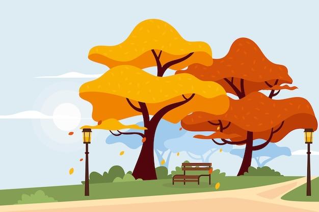 Fundo de outono de design plano
