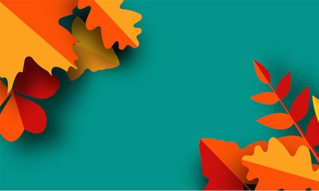 Fundo de outono de papel com folhas