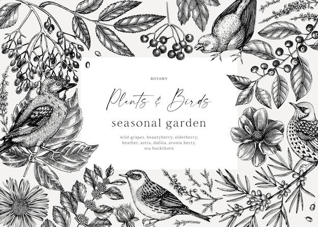 Fundo de outono desenhado à mão com pássaros, folhas, flores, bagas