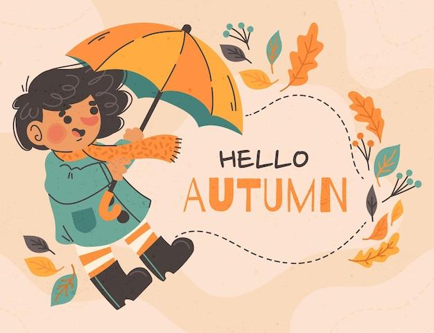 Fundo de outono desenhado à mão