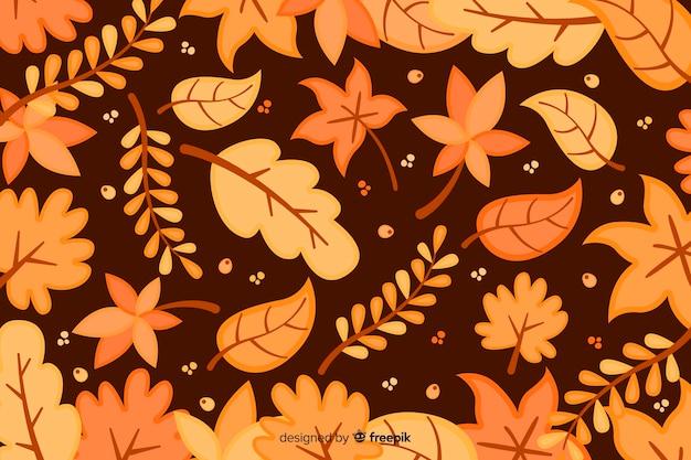 Fundo de outono design plano com folhas