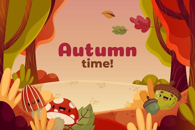 Fundo de outono dos desenhos animados