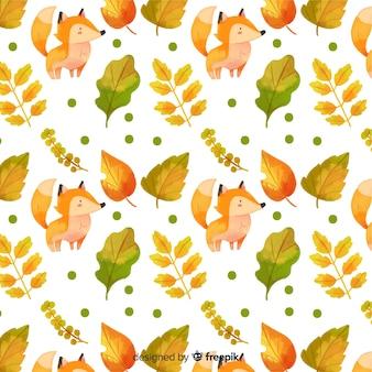 Fundo de outono em aquarela com animais