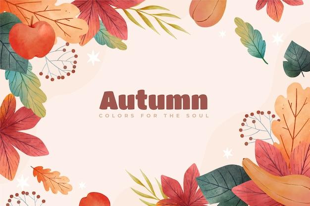 Fundo de outono em aquarela