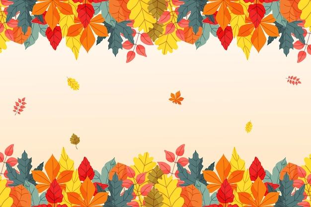 Fundo de outono em design plano