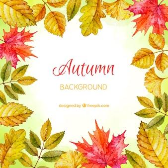 Fundo de outono em estilo aquarela