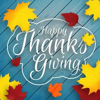 Fundo de outono feliz ação de graças com folhas de outono caindo