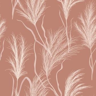 Fundo de outono floral em aquarela. padrão de vetor sem emenda de grama seca de pampas. ilustração de textura de outono boho com planta de ouro seco para pano de fundo, tecido estampado, têxtil retrô, papel de parede