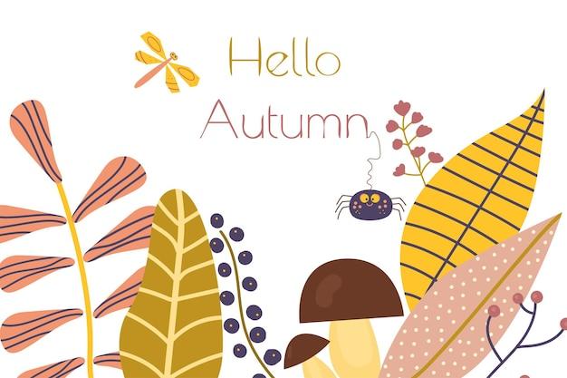 Fundo de outono fofo com insetos, plantas, bagas e cogumelos. olá, vetor dos desenhos animados de outono