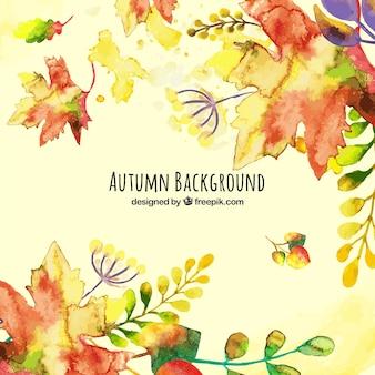 Fundo de outono lindo aquarela