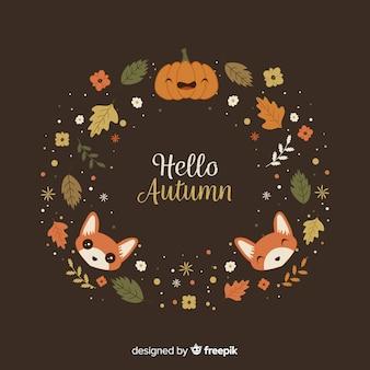 Fundo de outono mão desenhada com animais