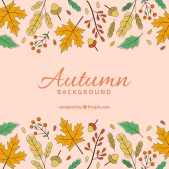 Fundo de outono mão desenhada com estilo colorido