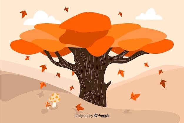 Fundo de outono mão desenhada com folhas