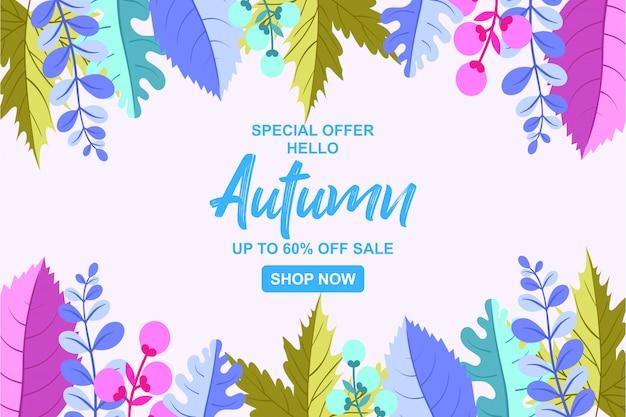 Fundo de outono para banner de venda temporada outono