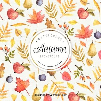 Fundo de outono pintado com aquarelas