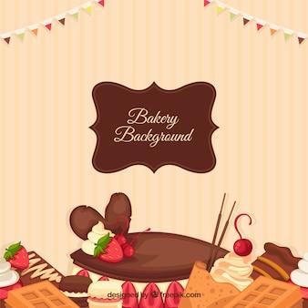 Fundo de padaria com sobremesas em estilo plano