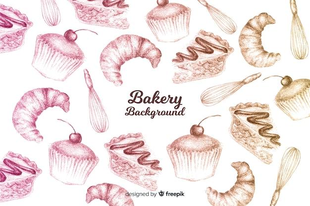 Fundo de padaria desenhada de mão